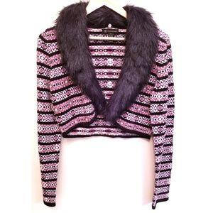 INC Silk Blend Angora Rabbit Fur Collar Shrug XL
